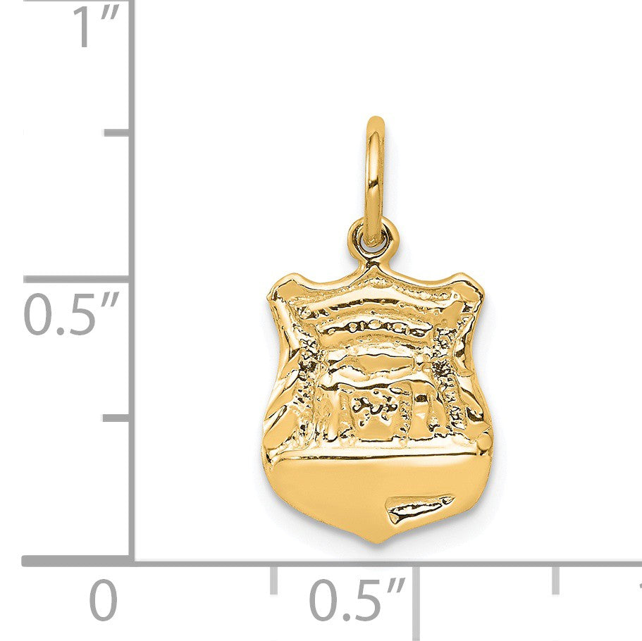 Alternate view of the 14k Yellow Gold Police Badge Charm by The Black Bow Jewelry Co.