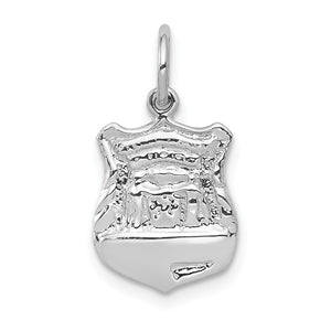 14k White Gold Police Badge Charm - The Black Bow Jewelry Co.