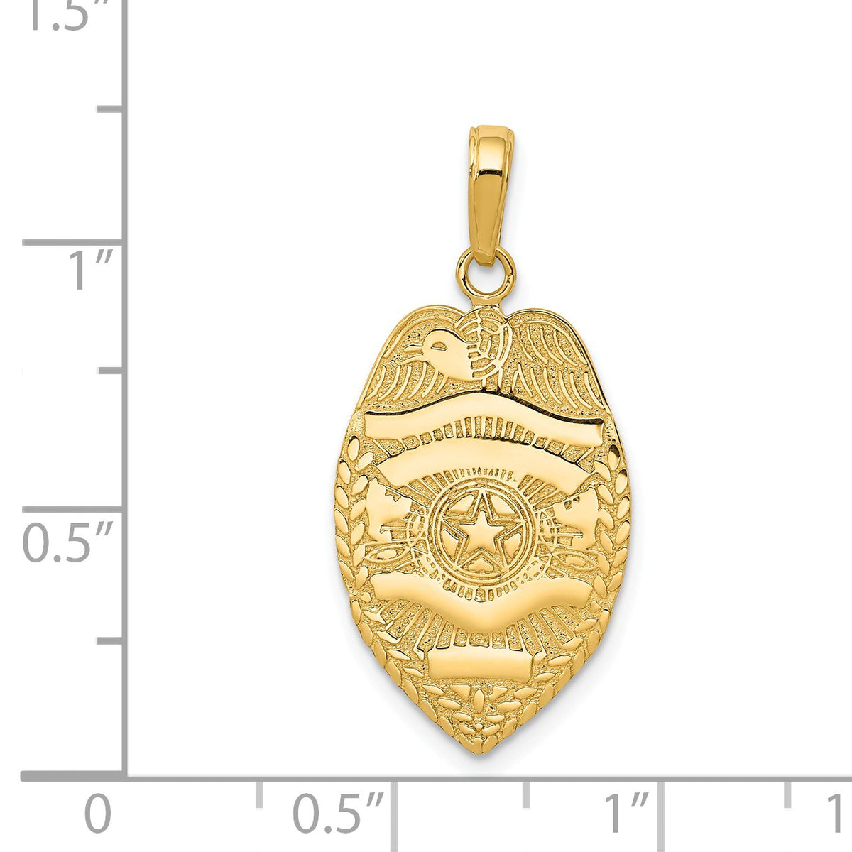 Alternate view of the 14k Yellow Gold Polished Badge Pendant by The Black Bow Jewelry Co.