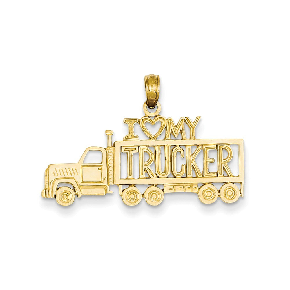 14k Yellow Gold I Heart My Trucker Semi Truck Pendant, Item P10226 by The Black Bow Jewelry Co.