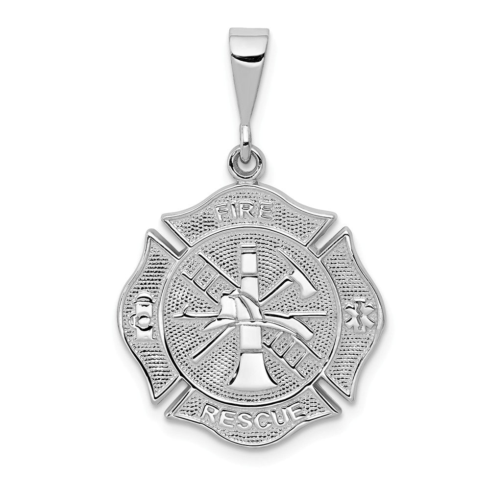 14k White Gold Textured Fire Rescue Shield Pendant, Item P10253 by The Black Bow Jewelry Co.
