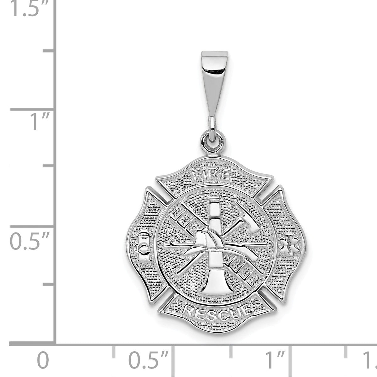 Alternate view of the 14k White Gold Textured Fire Rescue Shield Pendant by The Black Bow Jewelry Co.