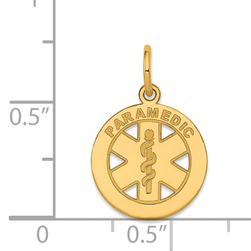 Alternate view of the 14k Yellow Gold Paramedic Medical Disk Charm, 13mm by The Black Bow Jewelry Co.