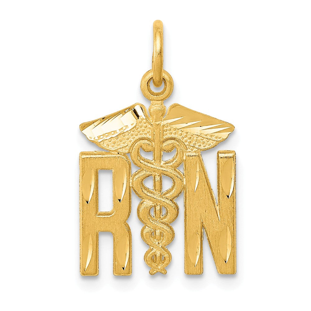 14k Yellow Gold Satin and Diamond Cut Nurse Charm, Item P10286 by The Black Bow Jewelry Co.