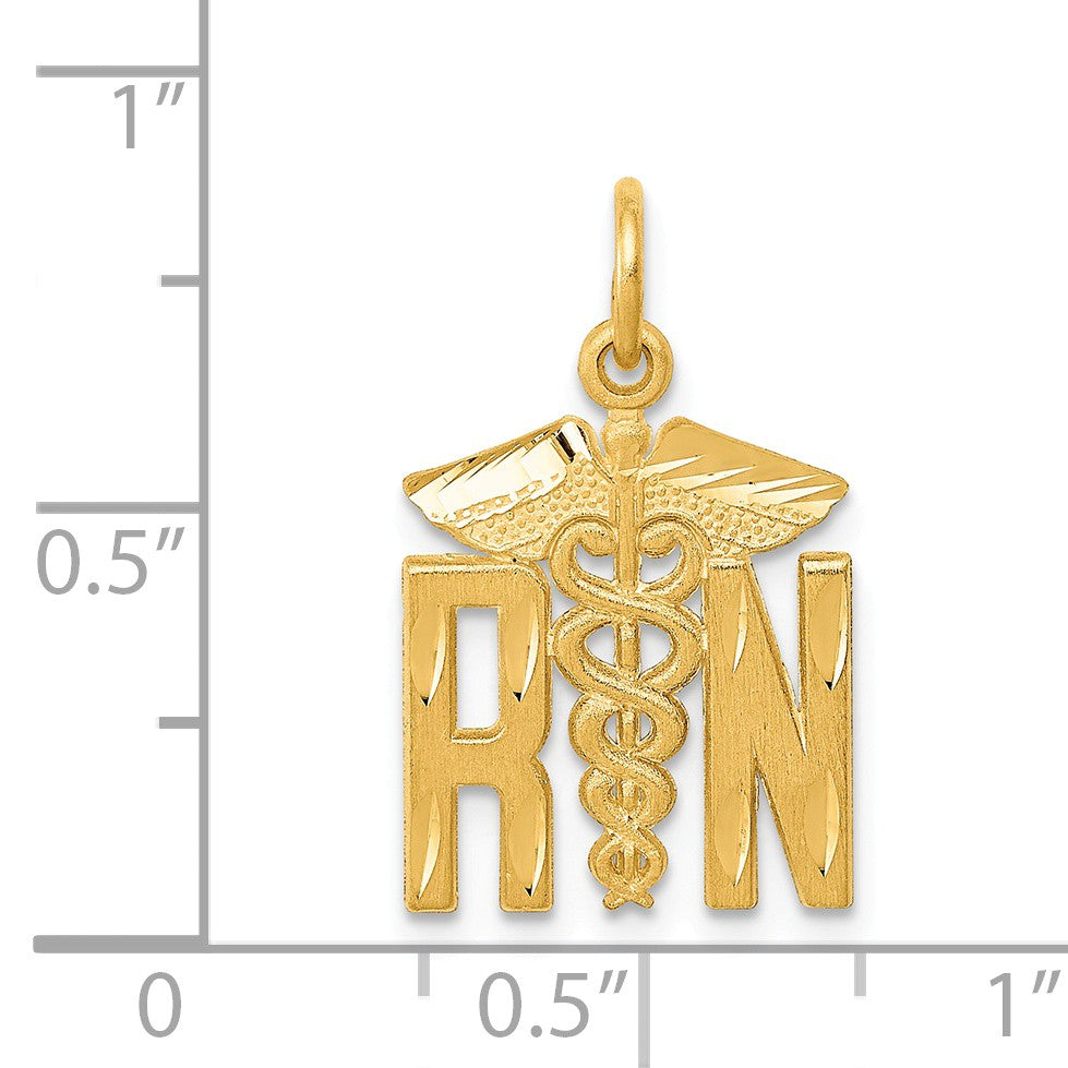 Alternate view of the 14k Yellow Gold Satin and Diamond Cut Nurse Charm by The Black Bow Jewelry Co.