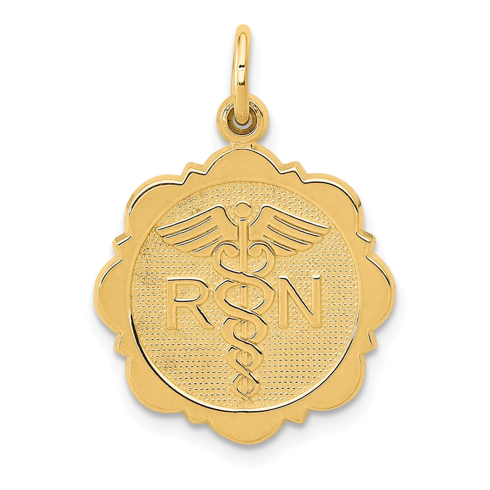 14k Yellow Gold Registered Nurse Disk Charm, 16mm, Item P10295 by The Black Bow Jewelry Co.