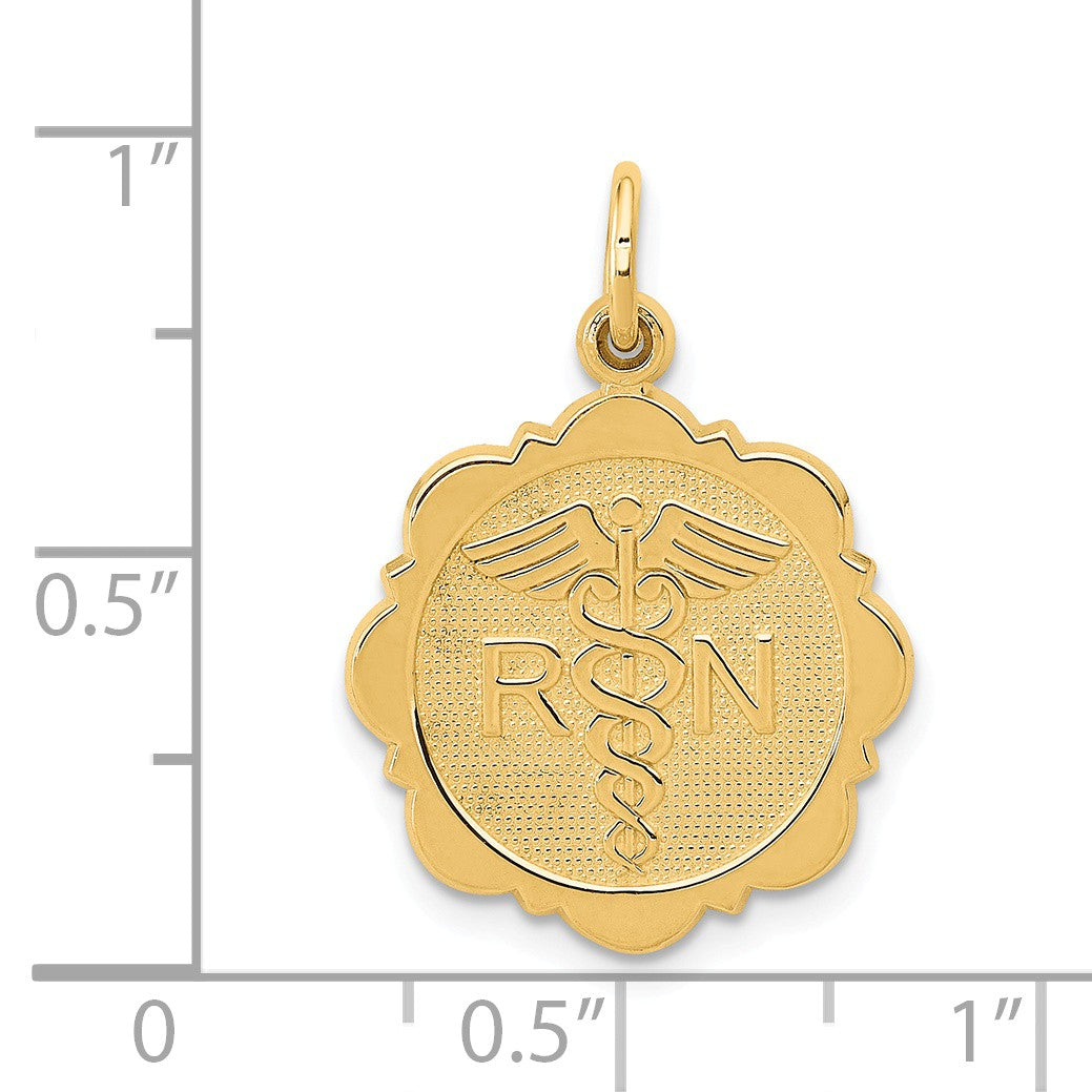 Alternate view of the 14k Yellow Gold Registered Nurse Disk Charm, 16mm by The Black Bow Jewelry Co.