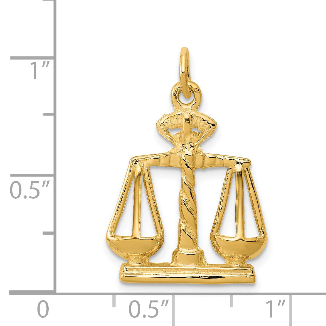 Alternate view of the 14k Yellow Gold Scales of Justice Charm by The Black Bow Jewelry Co.