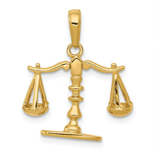 14k Yellow Gold 3D Moveable Scales of Justice Pendant - The Black Bow Jewelry Co.