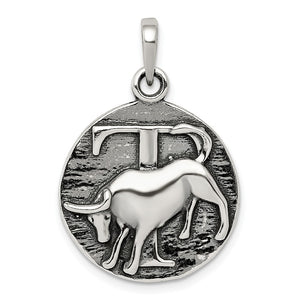 Sterling Silver Taurus the Bull Zodiac Embossed Circle Pendant - The Black Bow Jewelry Co.