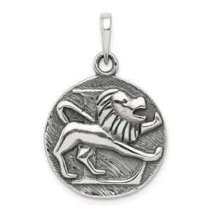 Sterling Silver Leo the Lion Zodiac Embossed Circle Pendant - The Black Bow Jewelry Co.