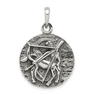 Sterling Silver Sagittarius the Archer Zodiac Circle Pendant - The Black Bow Jewelry Co.