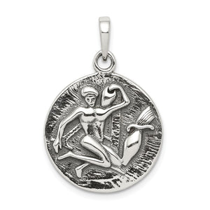 Sterling Silver Aquarius the Water Bearer Zodiac Embossed Pendant - The Black Bow Jewelry Co.