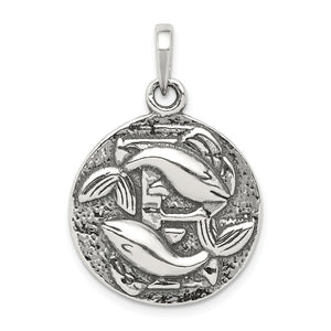 Sterling Silver Pisces the Fish Zodiac Embossed Circle Pendant - The Black Bow Jewelry Co.
