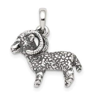 Sterling Silver Aries the Ram Zodiac 3D Antiqued Pendant - The Black Bow Jewelry Co.