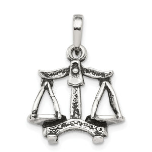 Sterling Silver Libra the Scale Zodiac 3D Antiqued Pendant - The Black Bow Jewelry Co.