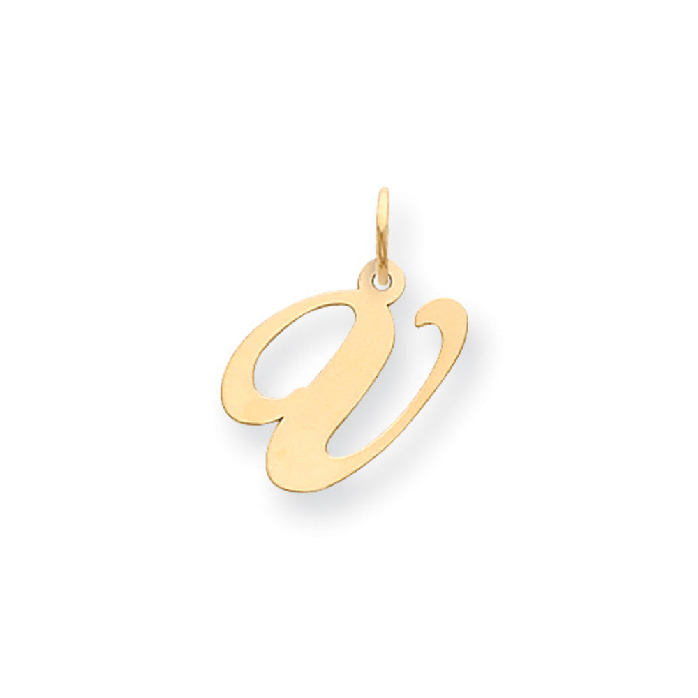 14k Yellow Gold, Ella Collection Medium Fancy Script Initial V Pendant, Item P10354-V by The Black Bow Jewelry Co.