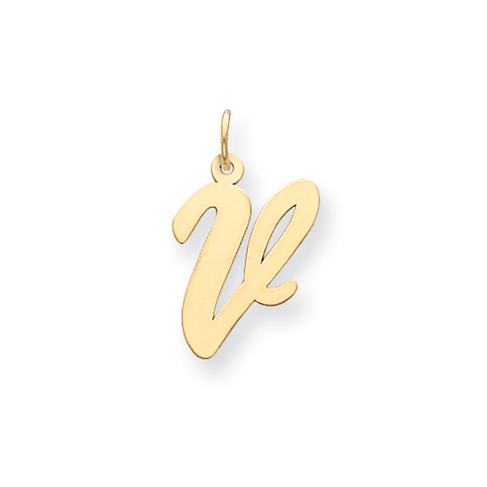 14k Yellow Gold Madison Collection LG Classic Script Initial V Pendant, Item P10357-V by The Black Bow Jewelry Co.