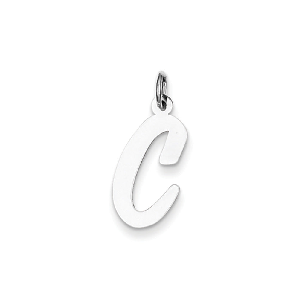 Sterling Silver Madison Collection LG Classic Script Initial C Pendant, Item P10359-C by The Black Bow Jewelry Co.