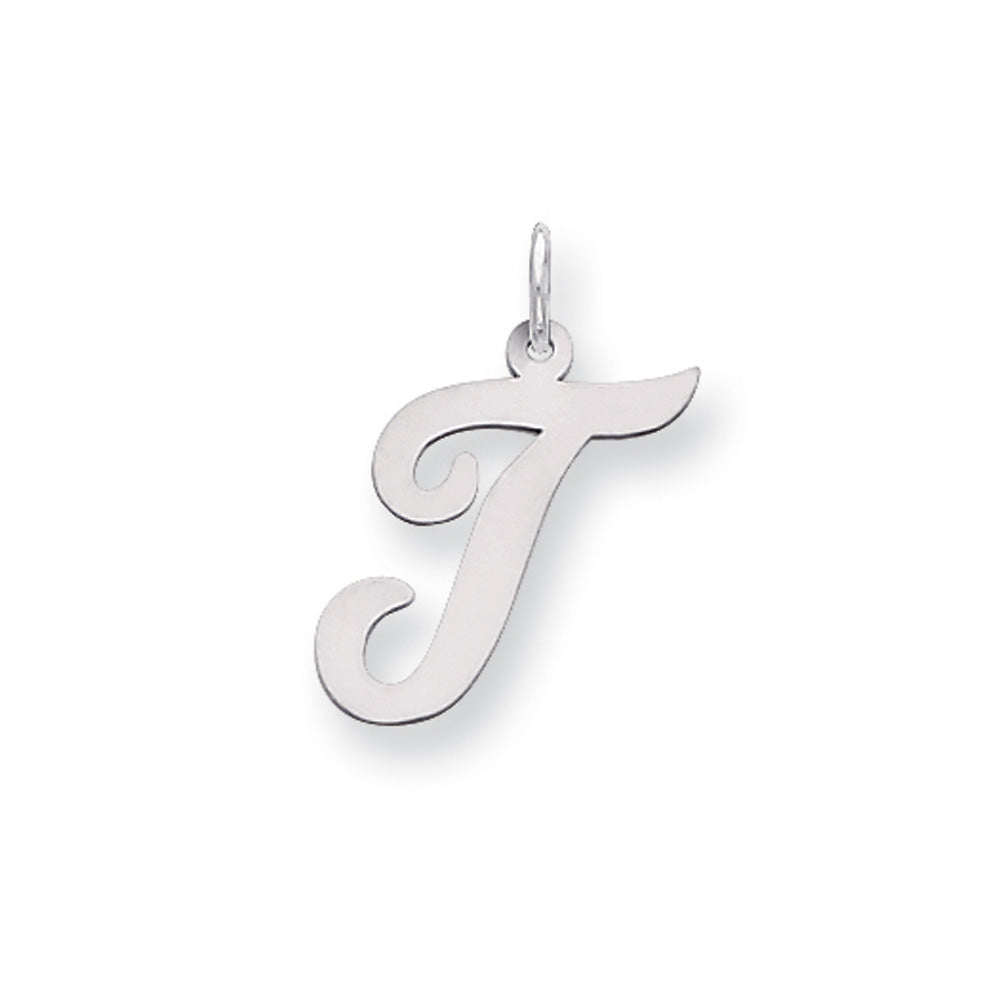 Sterling Silver Madison Collection LG Classic Script Initial T Pendant, Item P10359-T by The Black Bow Jewelry Co.