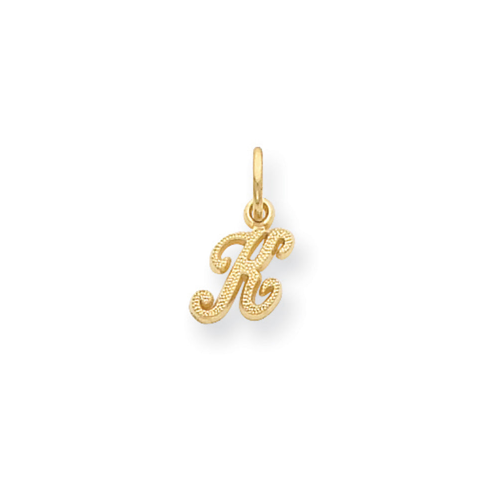 The Sadie 14k Yellow Gold Mini Satin Script Initial Charm, Letter K, Item P10380-K by The Black Bow Jewelry Co.