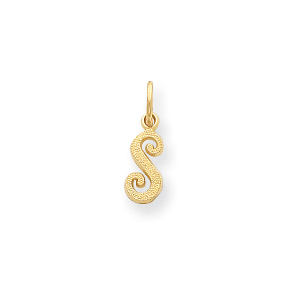 The Sadie 14k Yellow Gold Mini Satin Script Initial Charm, Letter S, Item P10380-S by The Black Bow Jewelry Co.