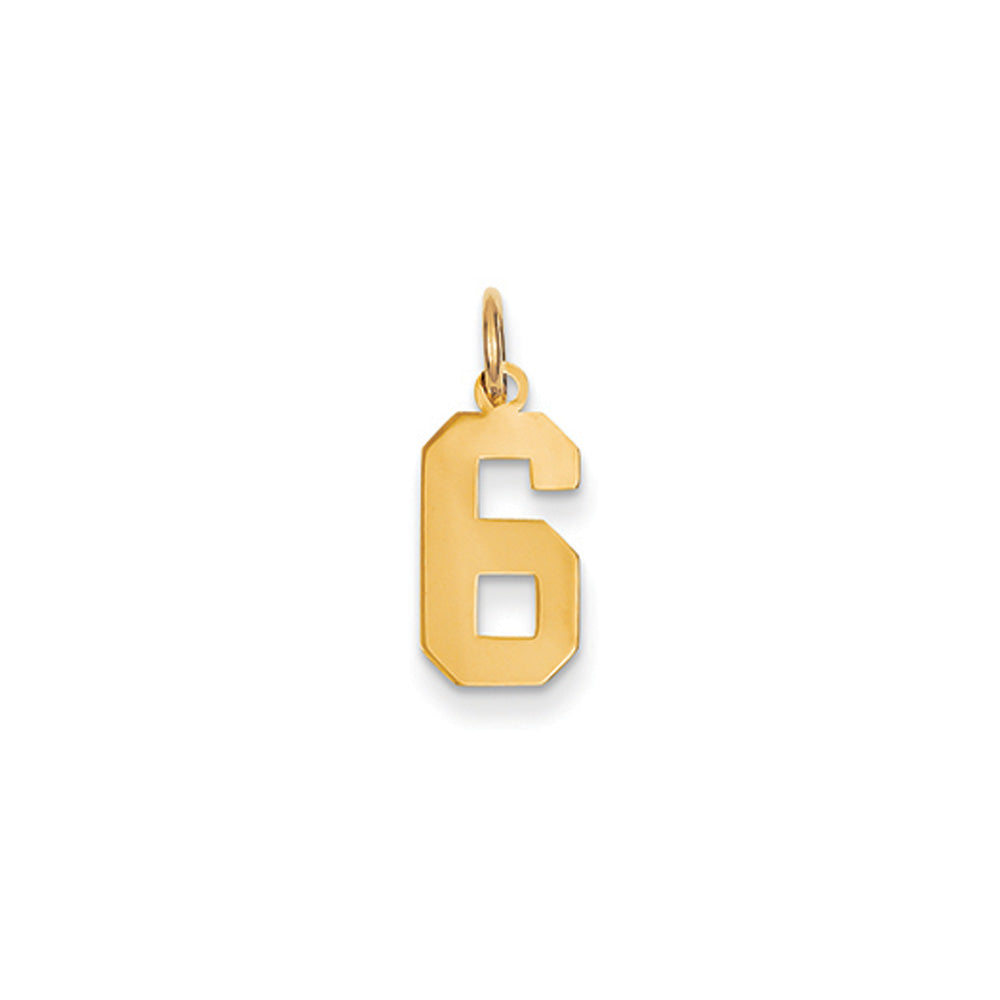 14k Yellow Gold, Athletic Collection, Small Polished Number 6 Pendant, Item P10390-6 by The Black Bow Jewelry Co.