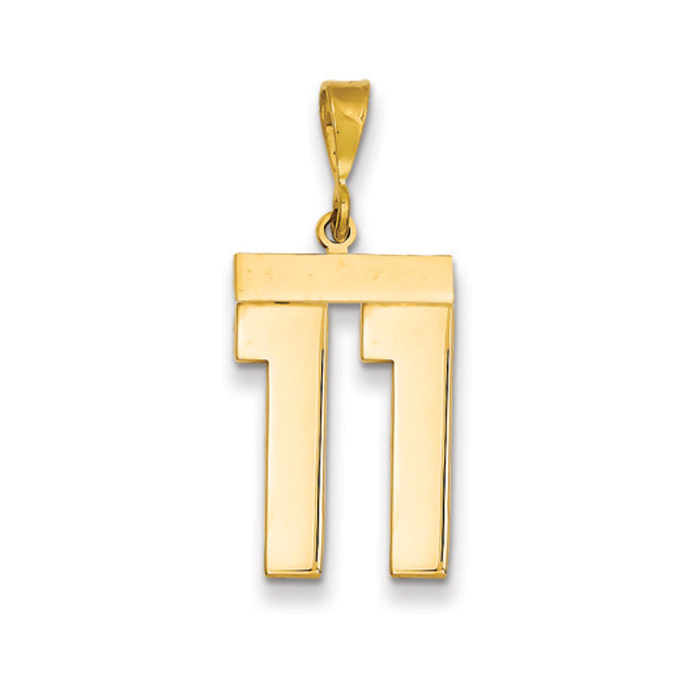 14k Yellow Gold, Athletic Collection, Large Polished Number 11 Pendant, Item P10399-11 by The Black Bow Jewelry Co.