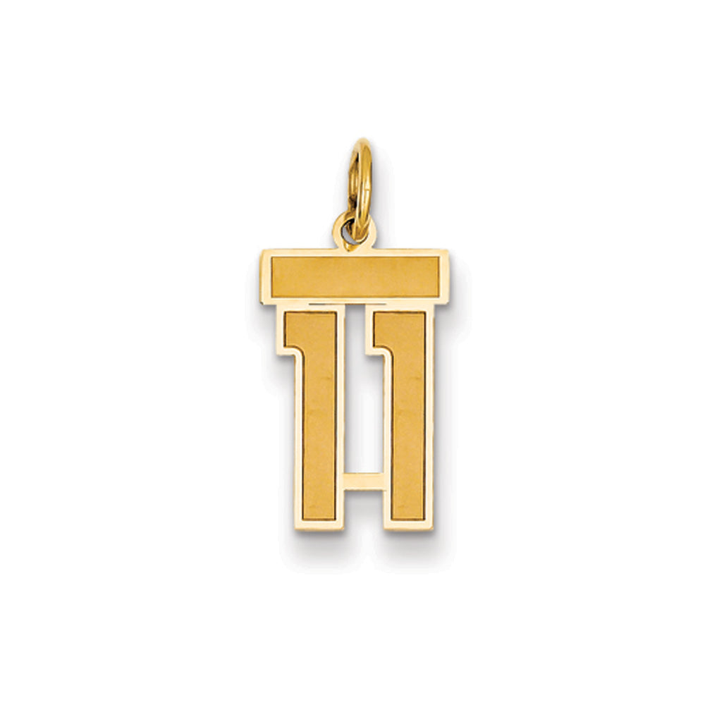 14k Yellow Gold, Jersey Collection, Small Number 11 Pendant, Item P10400-11 by The Black Bow Jewelry Co.