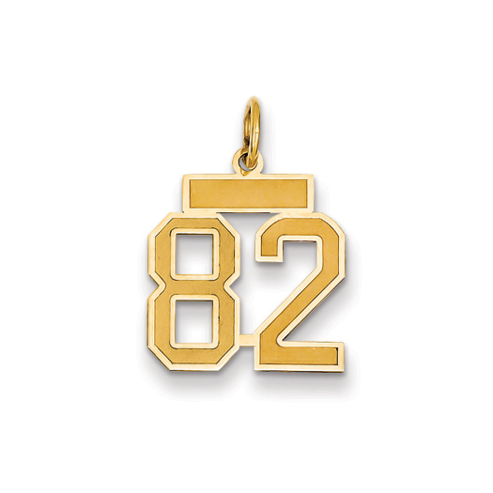 14k Yellow Gold, Jersey Collection, Small Number 82 Pendant, Item P10400-82 by The Black Bow Jewelry Co.
