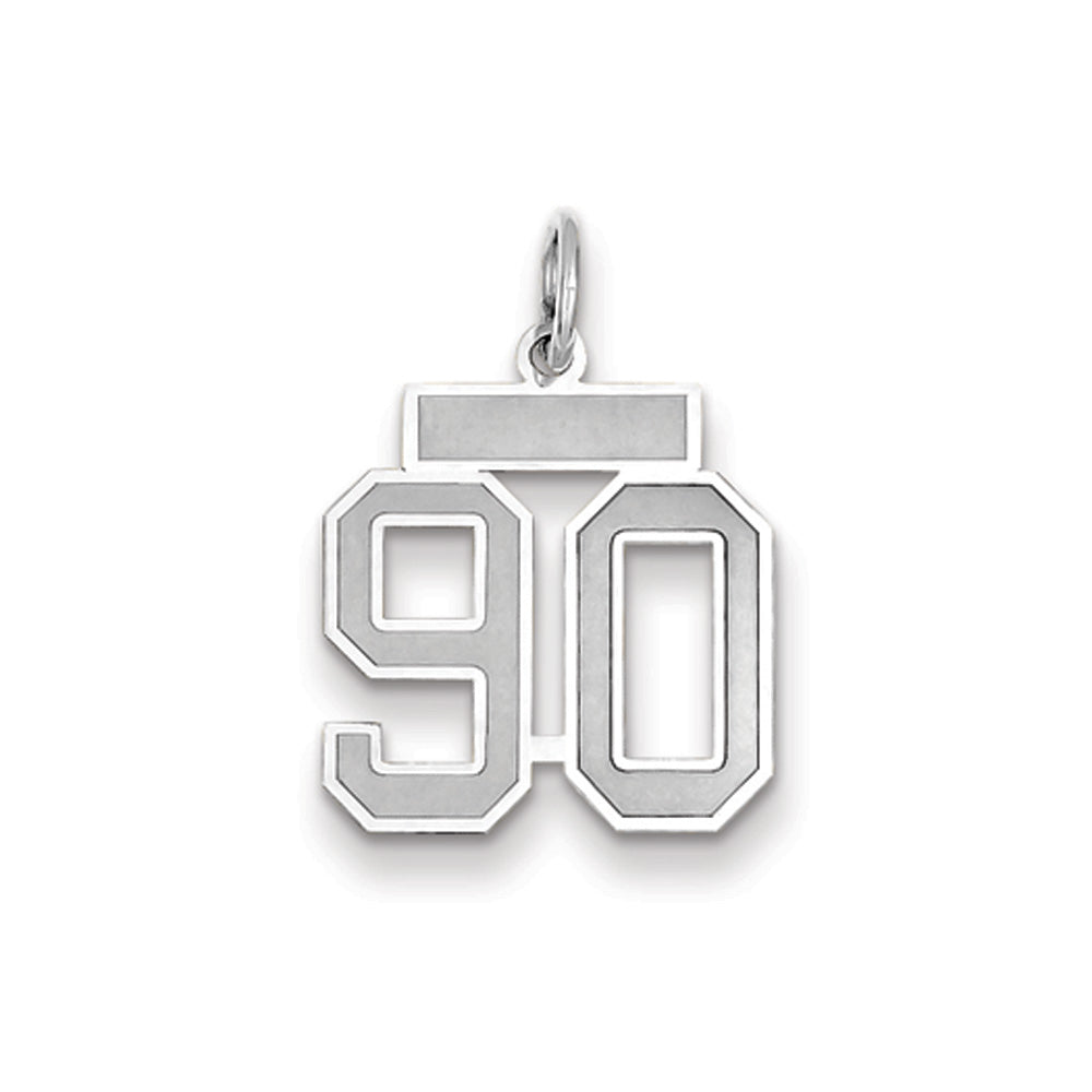 14k White Gold, Jersey Collection, Small Number 90 Pendant, Item P10401-90 by The Black Bow Jewelry Co.