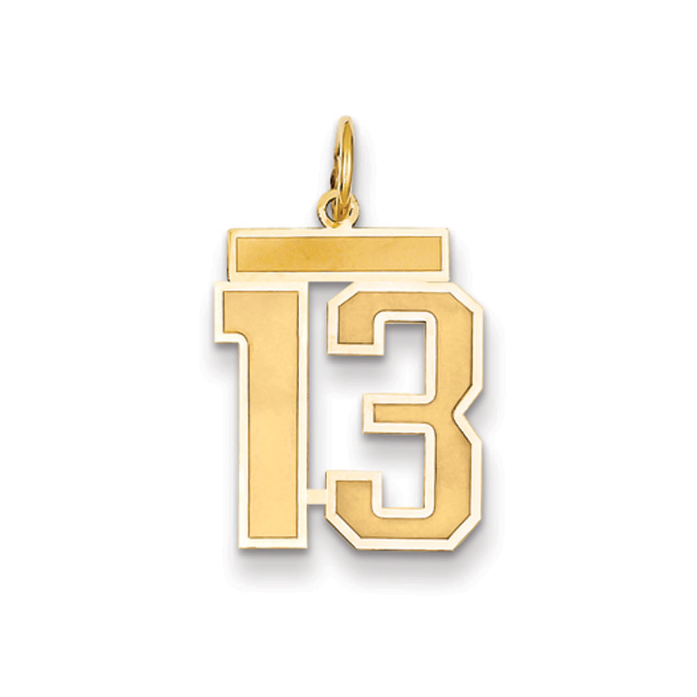 14k Yellow Gold, Jersey Collection, Medium Number 13 Pendant, Item P10402-13 by The Black Bow Jewelry Co.