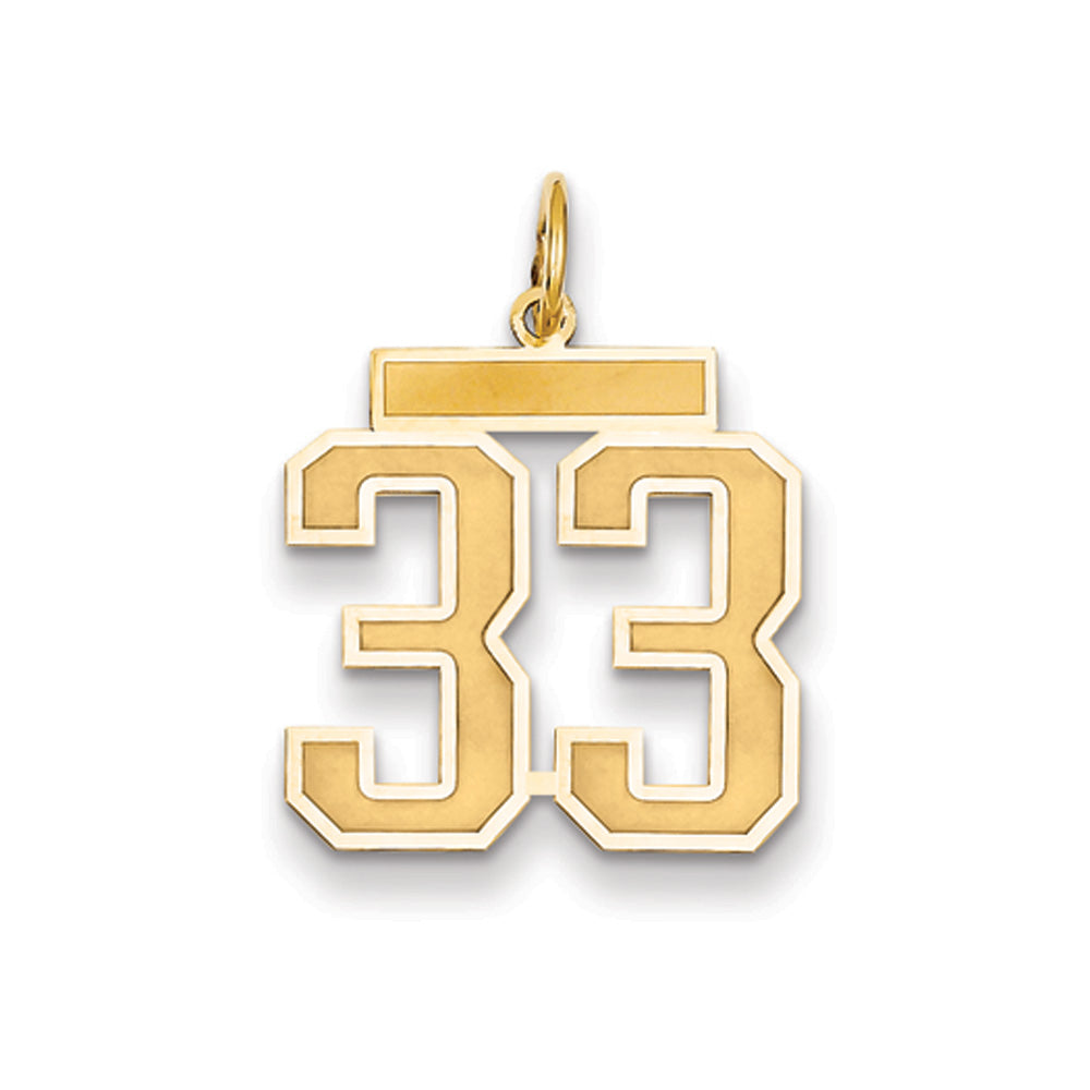 14k Yellow Gold, Jersey Collection, Medium Number 33 Pendant, Item P10402-33 by The Black Bow Jewelry Co.