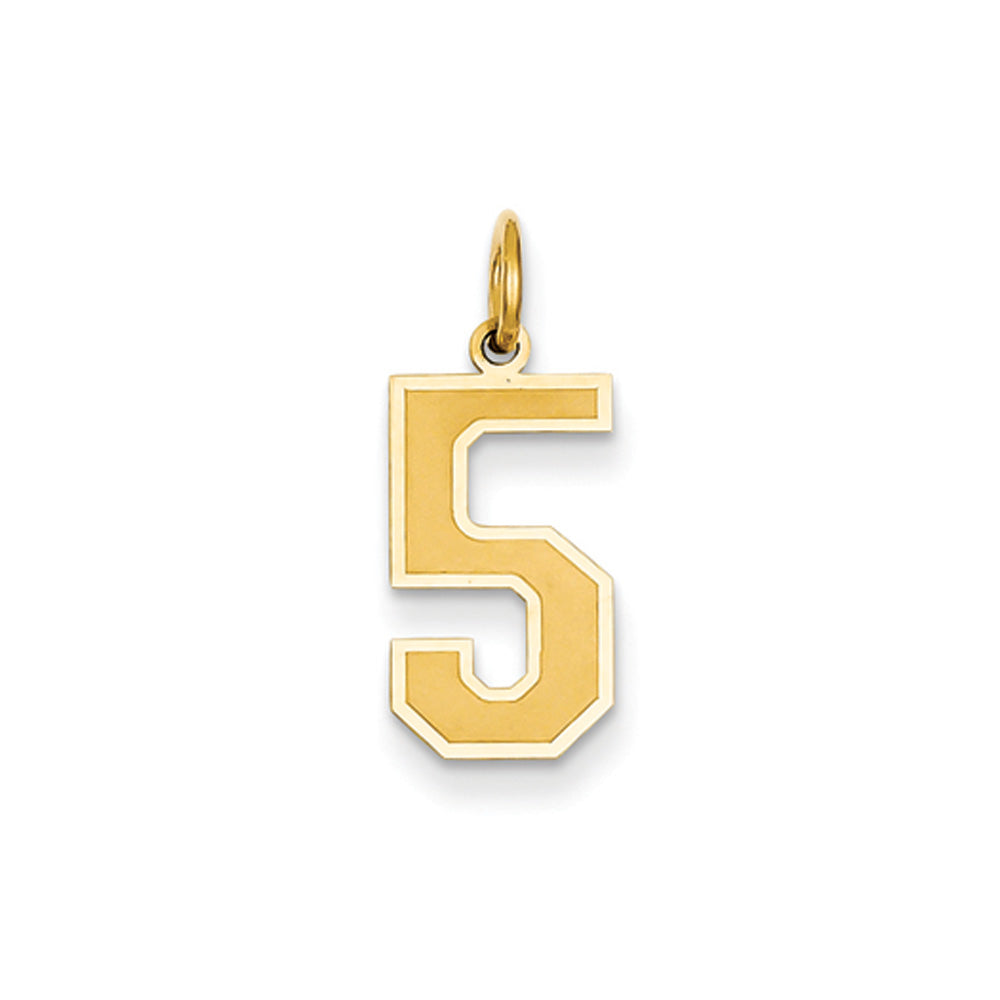 14k Yellow Gold, Jersey Collection, Medium Number 5 Pendant, Item P10402-5 by The Black Bow Jewelry Co.