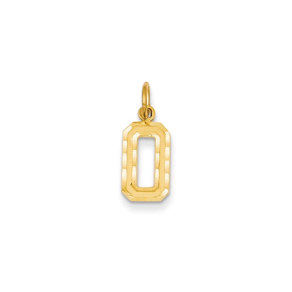 14k Yellow Gold, Varsity Collection, Small D/C Pendant Number 0, Item P10408-0 by The Black Bow Jewelry Co.