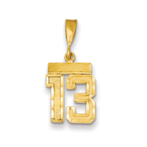 14k Yellow Gold, Varsity Collection, Small D/C Pendant Number 13 - The Black Bow Jewelry Co.
