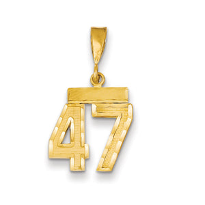 14k Yellow Gold, Varsity Collection, Small D/C Pendant Number 47 - The Black Bow Jewelry Co.