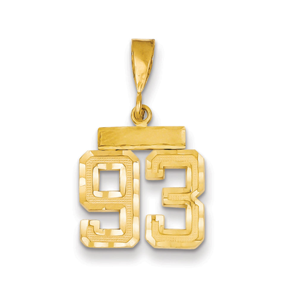 14k Yellow Gold, Varsity Collection, Small D/C Pendant Number 93, Item P10408-93 by The Black Bow Jewelry Co.