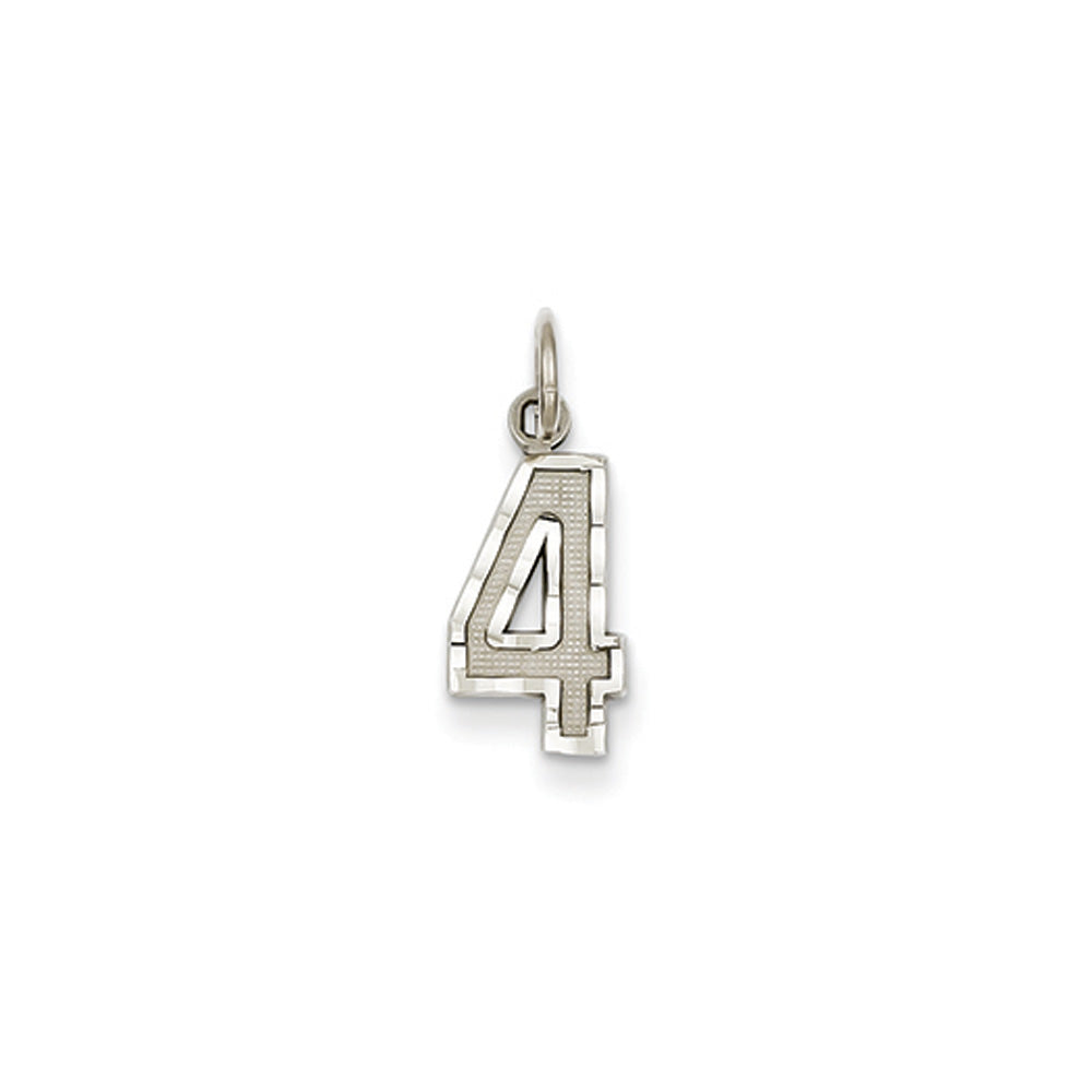 14k White Gold, Varsity Collection, Small D/C Pendant, Number 4, Item P10409-4 by The Black Bow Jewelry Co.