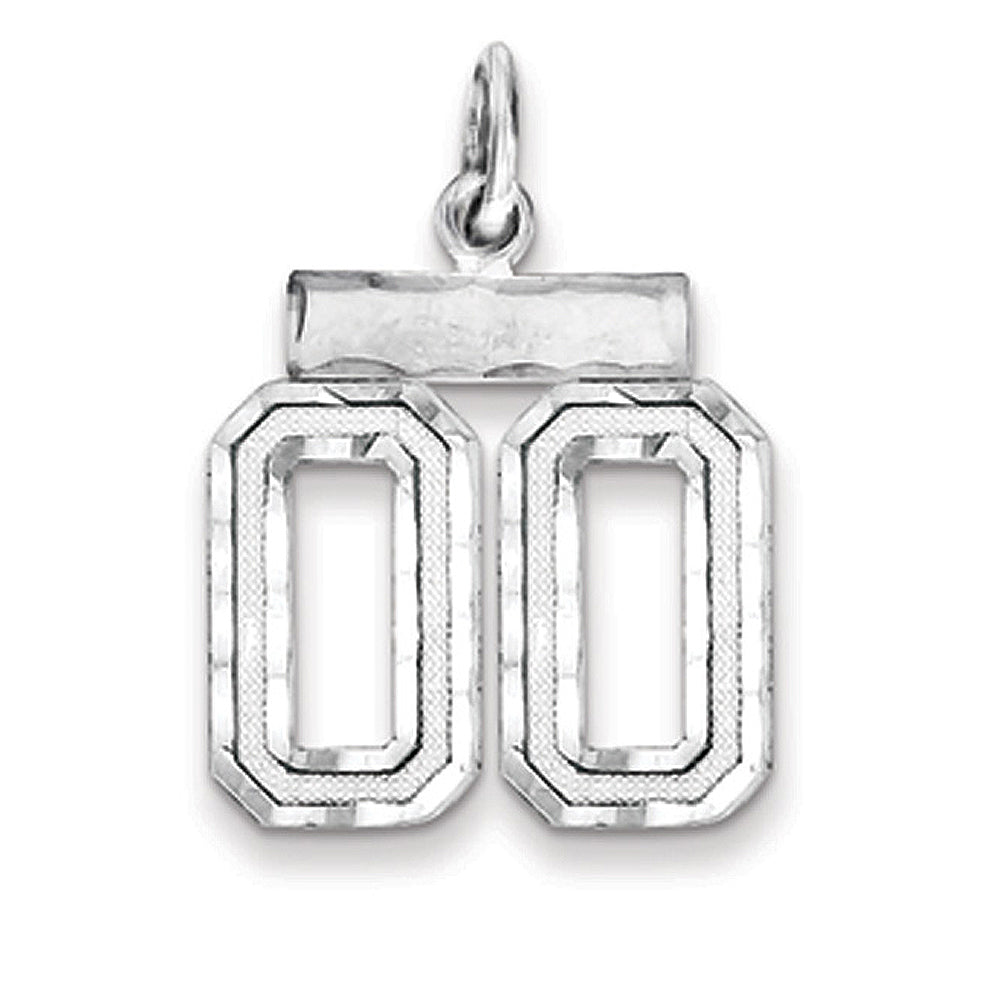 Sterling Silver, Varsity Collection, Small D/C Pendant, Number 00, Item P10410-00 by The Black Bow Jewelry Co.
