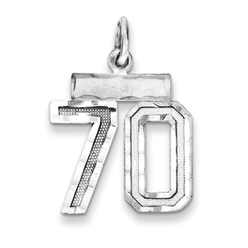 Sterling Silver, Varsity Collection, Small D/C Pendant, Number 70, Item P10410-70 by The Black Bow Jewelry Co.