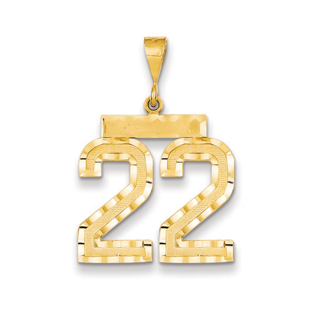 14k Yellow Gold, Varsity Collection, Large D/C Pendant Number 22, Item P10411-22 by The Black Bow Jewelry Co.