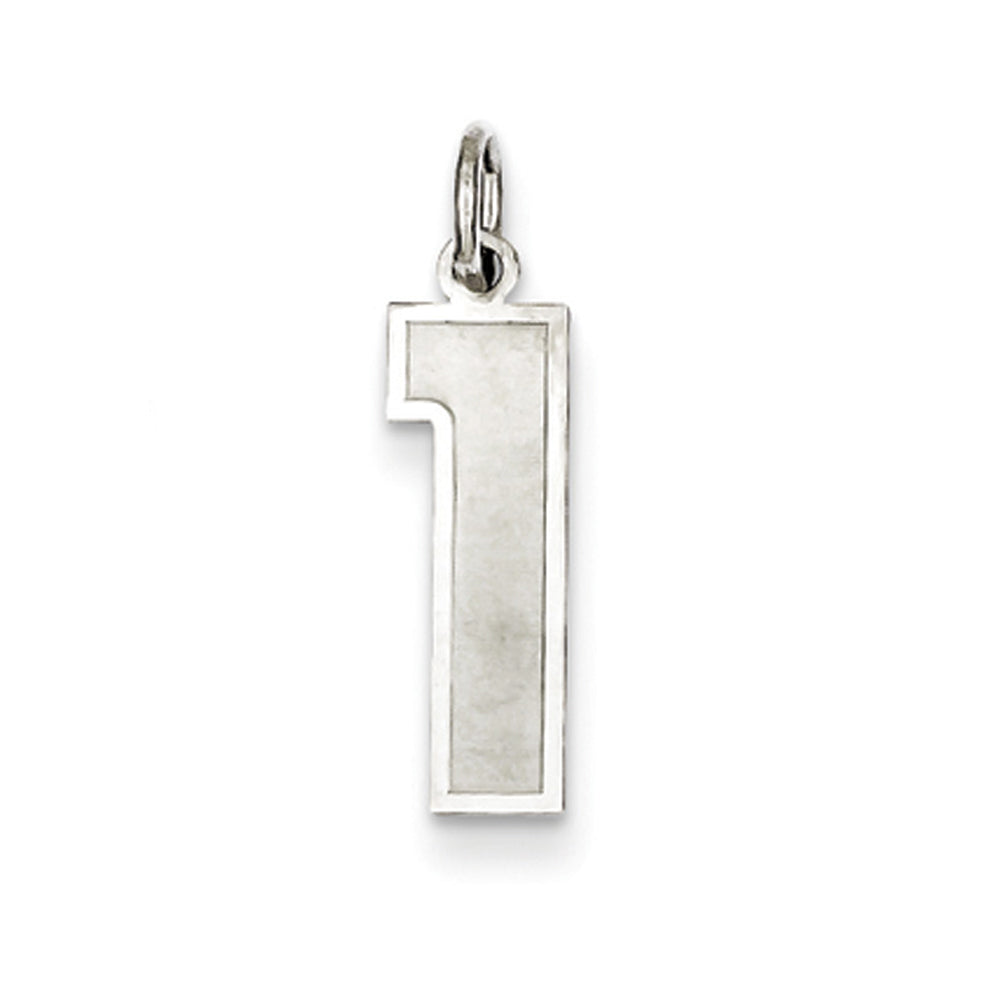 Sterling Silver, Jersey Collection, Medium Number 1 Pendant, Item P10413-1 by The Black Bow Jewelry Co.