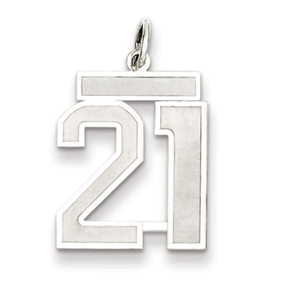 Sterling Silver, Jersey Collection, Medium Number 21 Pendant, Item P10413-21 by The Black Bow Jewelry Co.