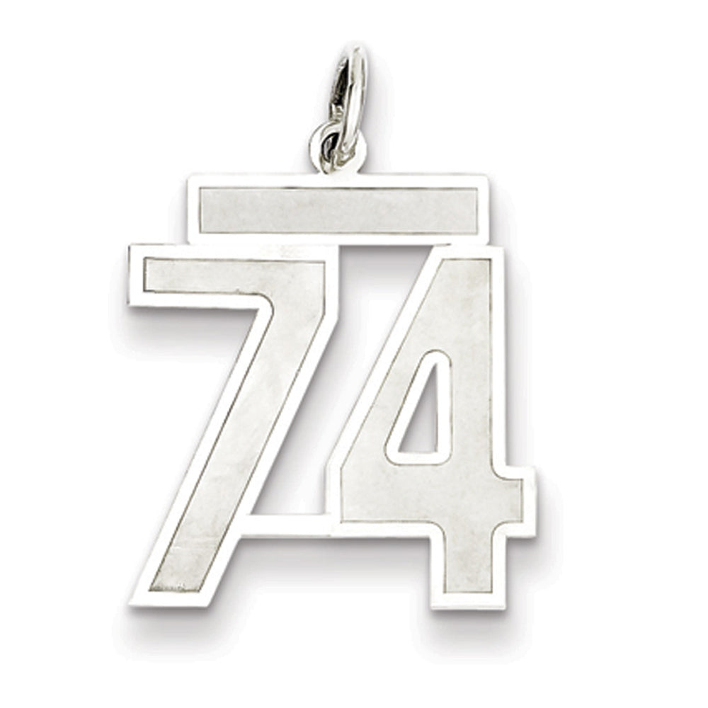 Sterling Silver, Jersey Collection, Medium Number 74 Pendant, Item P10413-74 by The Black Bow Jewelry Co.