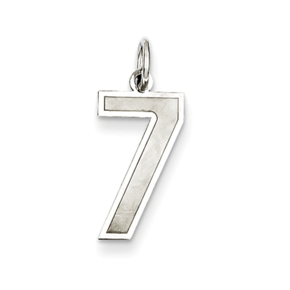 Sterling Silver, Jersey Collection, Medium Number 7 Pendant, Item P10413-7 by The Black Bow Jewelry Co.
