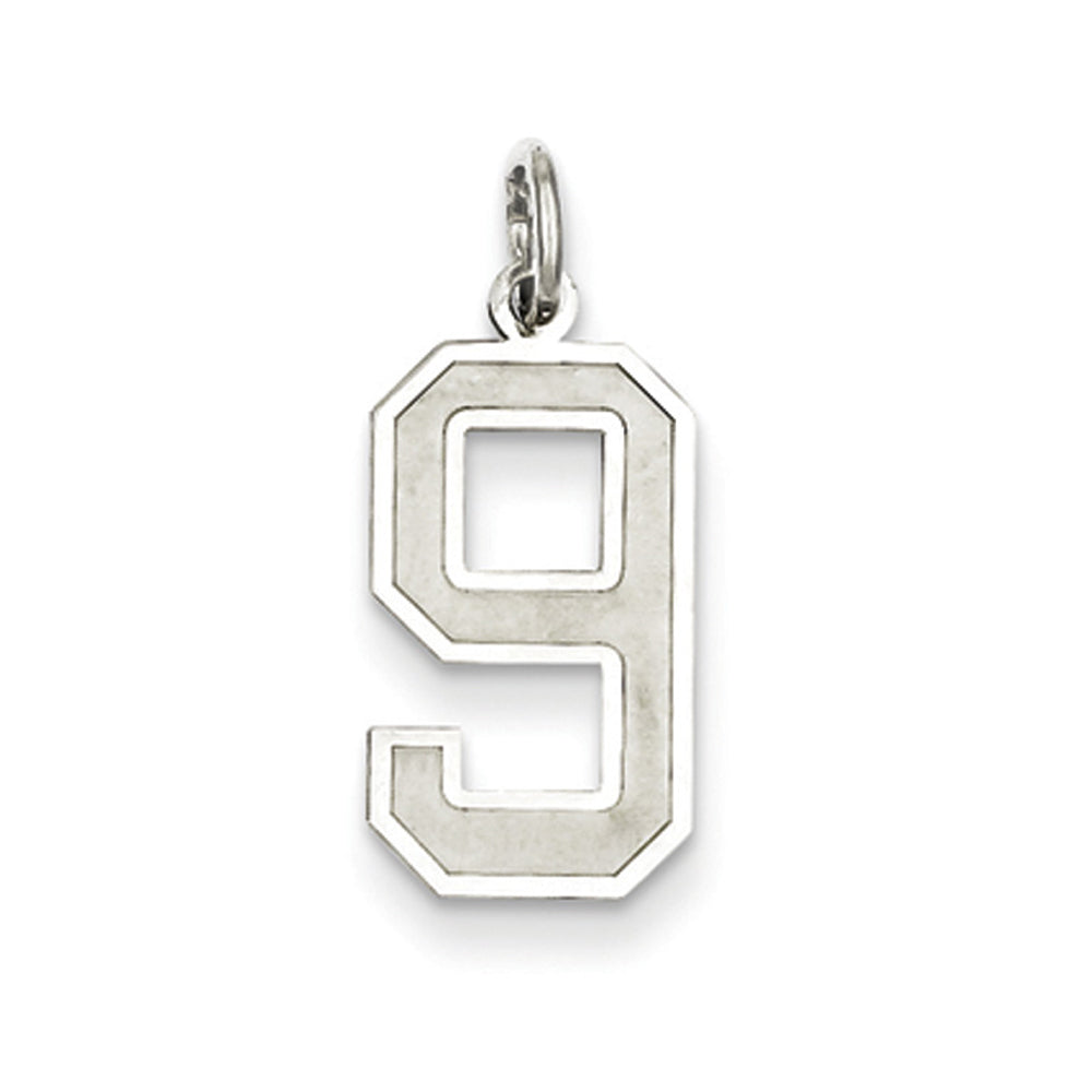 Sterling Silver, Jersey Collection, Medium Number 9 Pendant, Item P10413-9 by The Black Bow Jewelry Co.