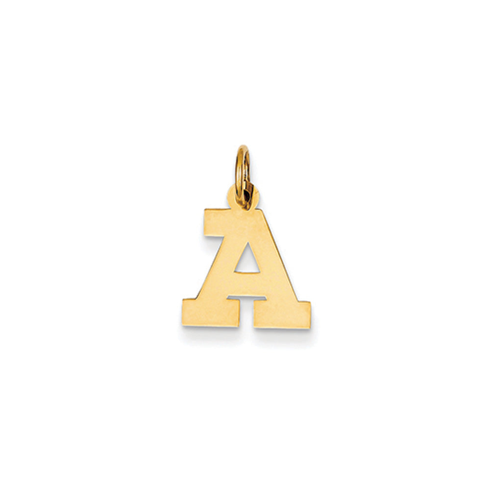 14k Yellow Gold, Amanda Collection, Small Block Initial A Pendant, Item P10415-A by The Black Bow Jewelry Co.