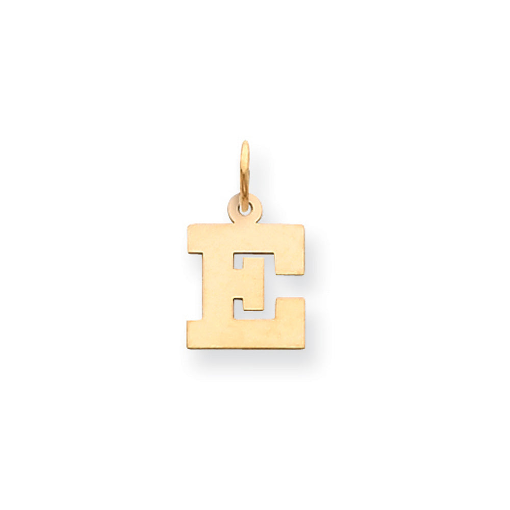 14k Yellow Gold, Amanda Collection, Small Block Initial E Pendant, Item P10415-E by The Black Bow Jewelry Co.
