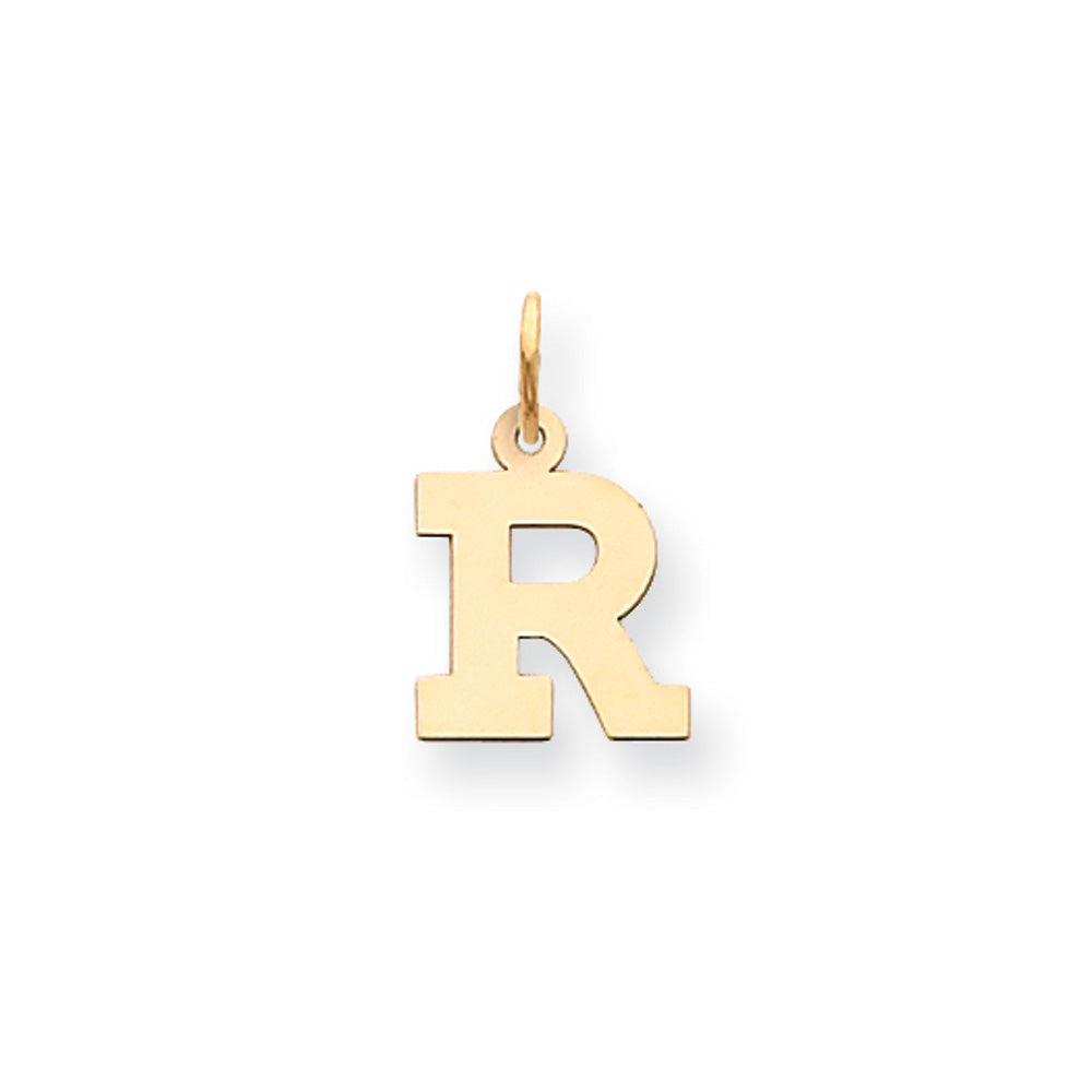 14k Yellow Gold, Amanda Collection, Small Block Initial R Pendant, Item P10415-R by The Black Bow Jewelry Co.
